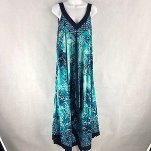 Style&Co Boho XXL Handkerchief Blue Tank Sun Dress